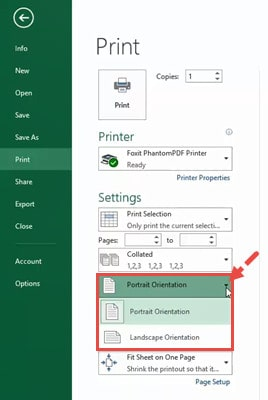 Select the orientation from the drop down