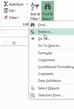 Click on the replace option
