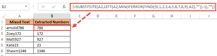 Substitute function to extract numbers at the end of the text