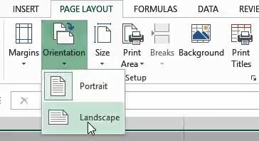 Select landscape as the page orientation