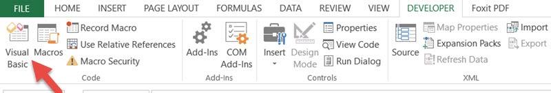 Click on Visual Basic