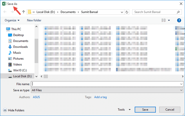 Title to show in the save as dialog box