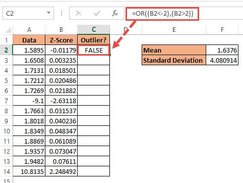 OR formula to find outliers in Excel