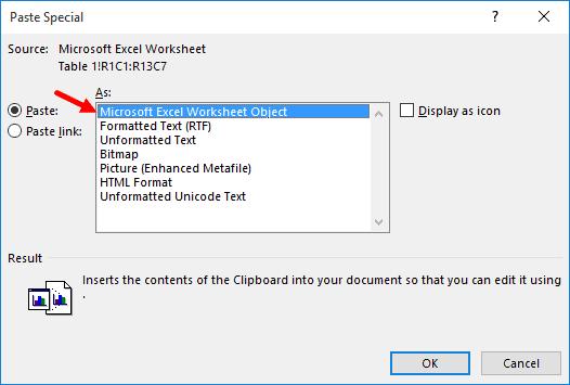 Paste as Microsoft Excel Wroksheet object