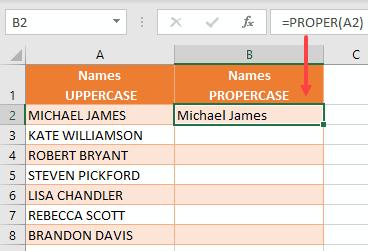 PROPER function in Excel