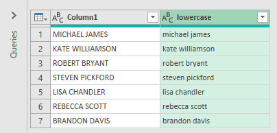 Lowercase column in Power Query