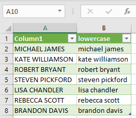 Resulting table with lowercase transformed data