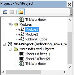 Project Explorer in the VB Edior