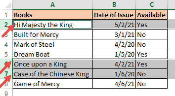 Rows with the specified text selected