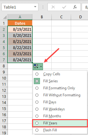 Select Fill Years from the autofill options