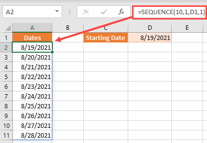 SEQUENCE formula to autofill dates