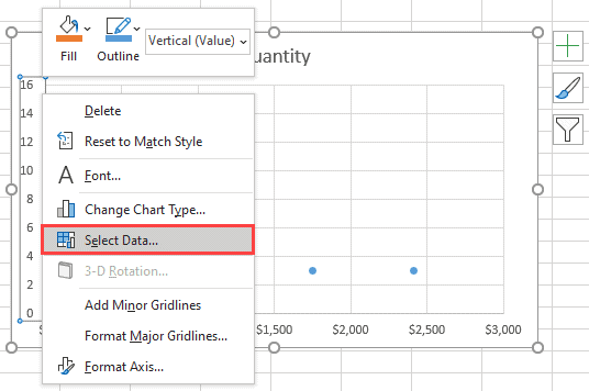 Right-click on the axis and click on Select Data
