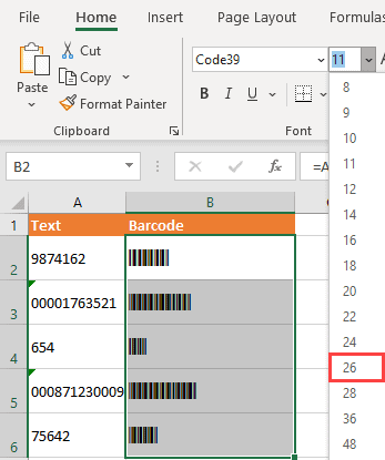 Change the font size to make the barcode bigger