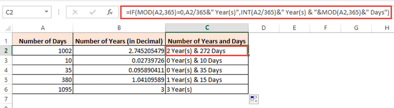 Formula to get completed years and days