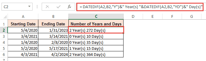 Number of years and days