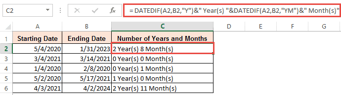 Number of years and months