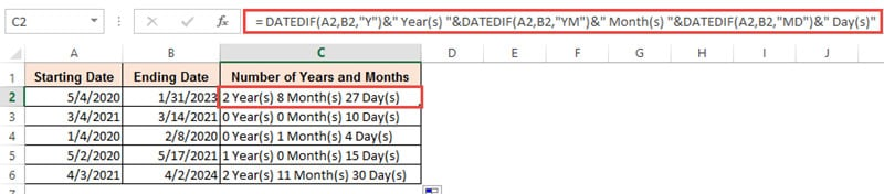 Number of years, months and days