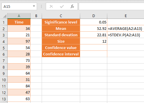 Formulas to use to calculate confidence interval in Excel