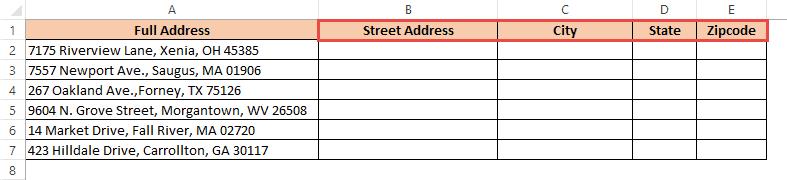 Add headings in adjacent columns