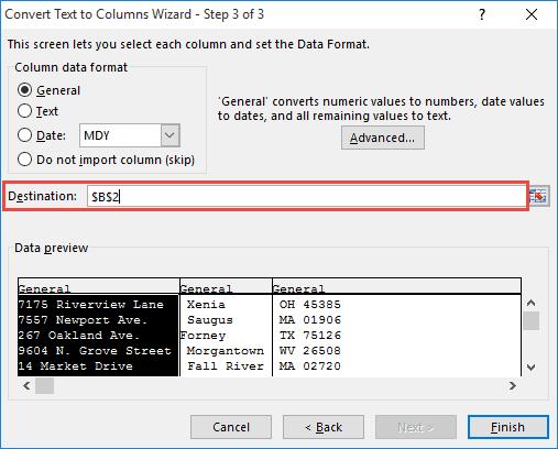 Select destination for the address split