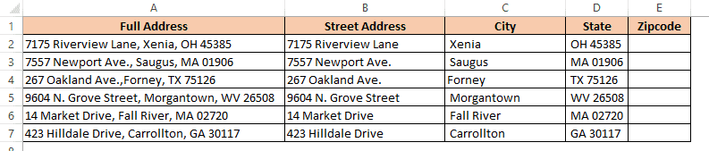 Address data separated in separate columns