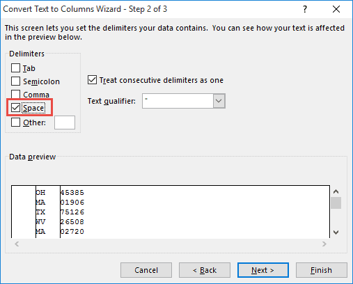 Select space as the delimiter