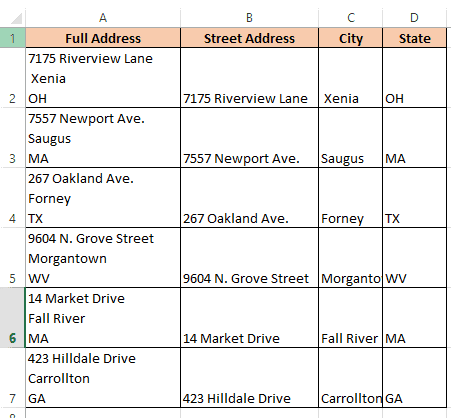 Address split where there was a new line character