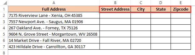 Add headers in adjacent columns