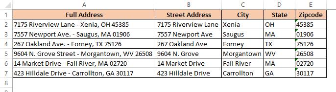 Final separate address using flash fill