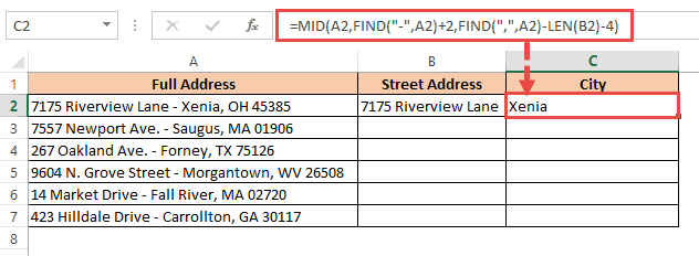 MID function to extract city name from addresss