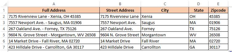 Final data where address has been split using formulas
