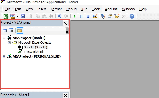 Project Explorer will show the Personal.XLSB