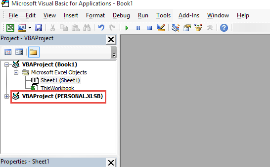 Click on the Personal.XLSB option in the project explorer