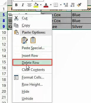 Delete all filtered rows