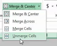 Click on Unmerge cells