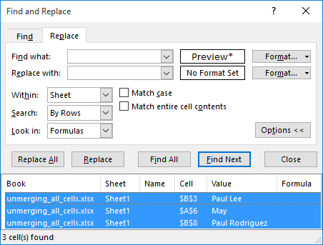 Select all the merged cells found by Find and Replace