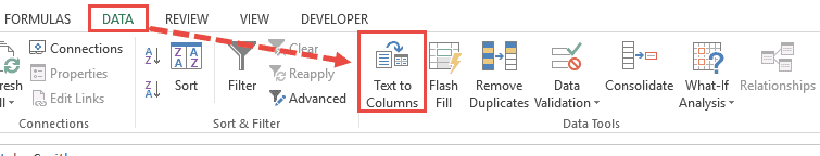 Click on Text to Columns
