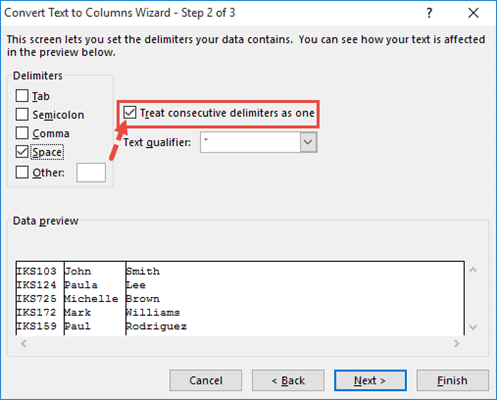 Select Treat consecutive delimiters as one