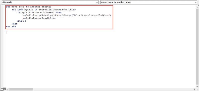 Copy-paste the code in the module window