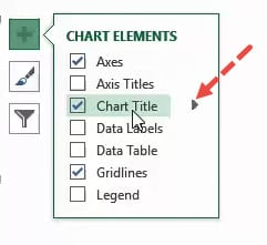 Small arrow to show additional chart title options